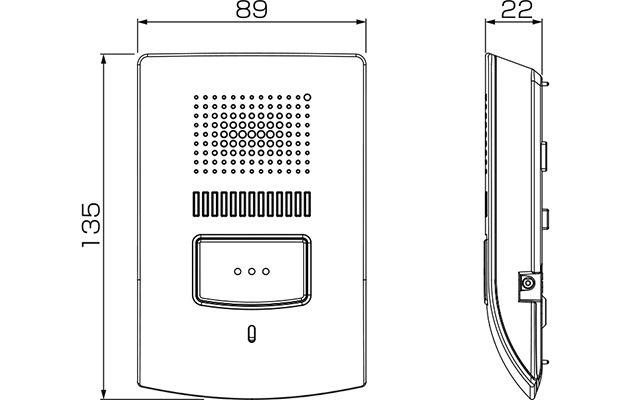 親機・室内子機のサイズ 135(H)x89(W)x22(D)mm