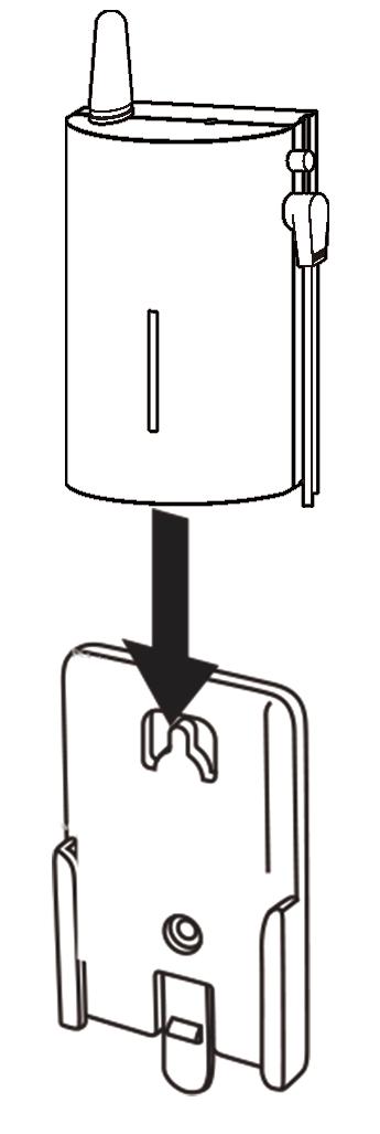 無線チャイム中継機を取付プレートにスライドして固定します。