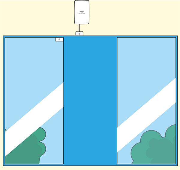 ドア窓送信機を自動ドアの上部に設置