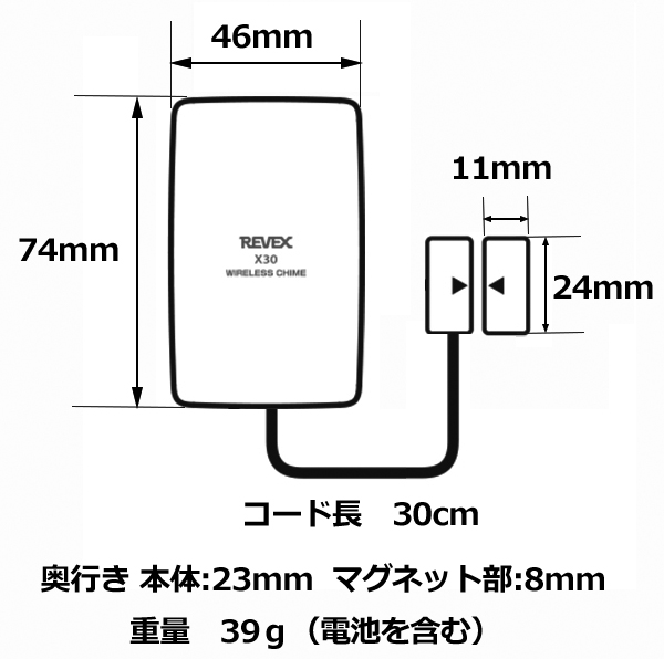 ドア窓センサー送信機本体のサイズ 74(H)x46(W)x23(D)mm コード長30cm