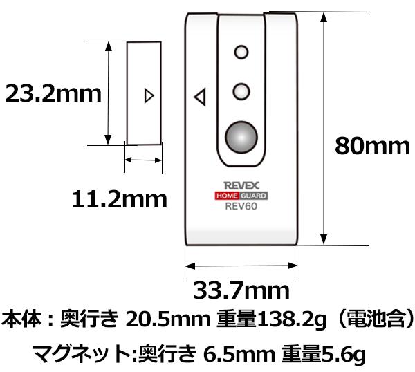 開閉センサーとマグネット部の外形寸法