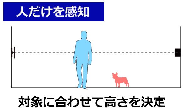 赤外線ビームセンサー 人だけを感知 対象に合わせて高さを決定します